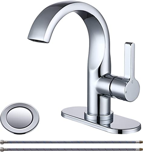 Mejor Solid Brass One Handle Waterfull Bathroom faucet,with 4 inches deck plate,CUPC water lines and Metal pop-up drain with overflow,Chrome Polished,ME2536P-CP