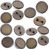 手作り 丸皿 ブローチピン 金具 アクセサリーパーツ 金古美 台付 コサージュピン 台座内直径30MM