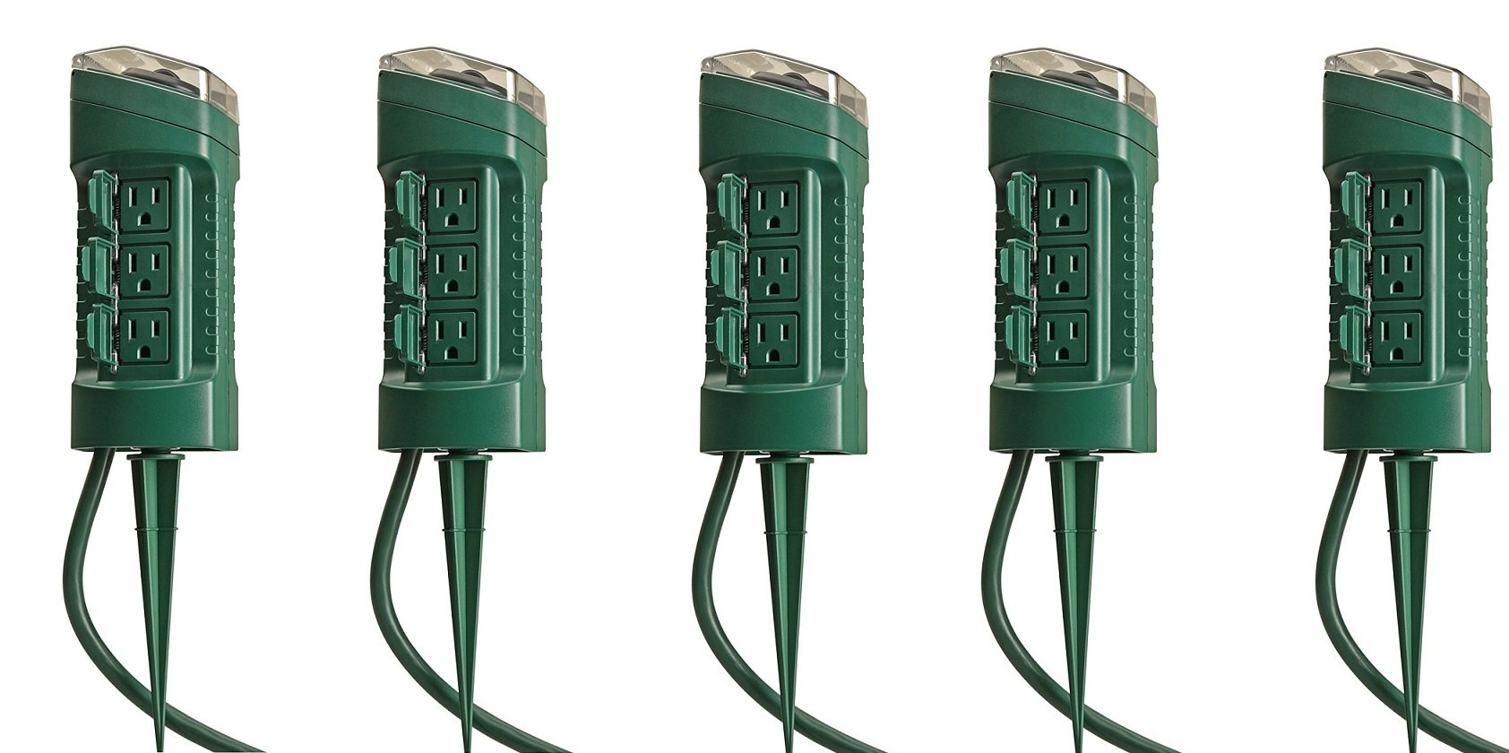 Woods 13547WD Outdoor Yard Stake with Photocell and Built-In Timer, 6 Grounded Outlets, 6ft Cord, Green (5' PACK) by Woods