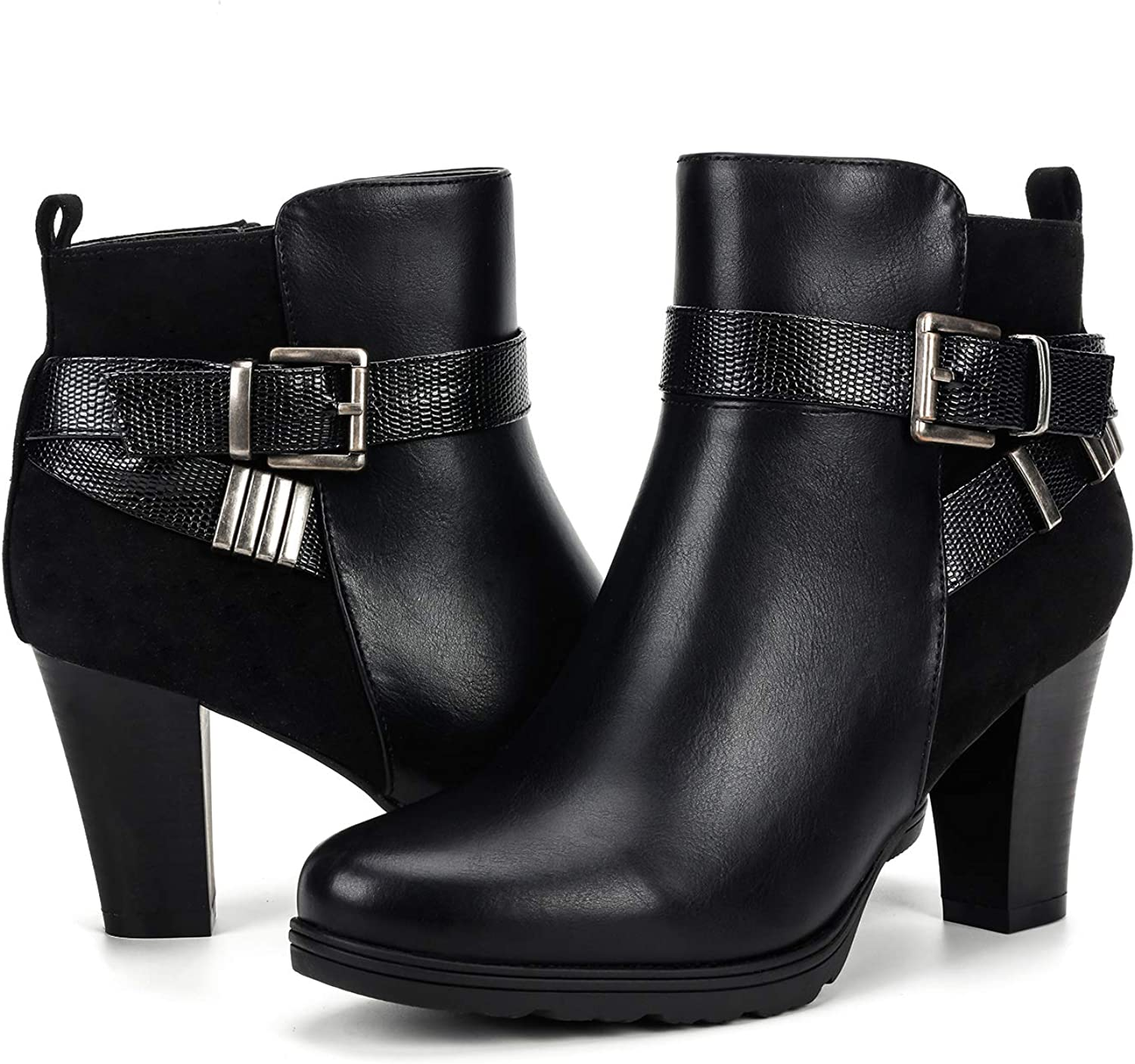 Refresh Women/'s Quilted Buckle Strap Platform Chunky Ankle Booties