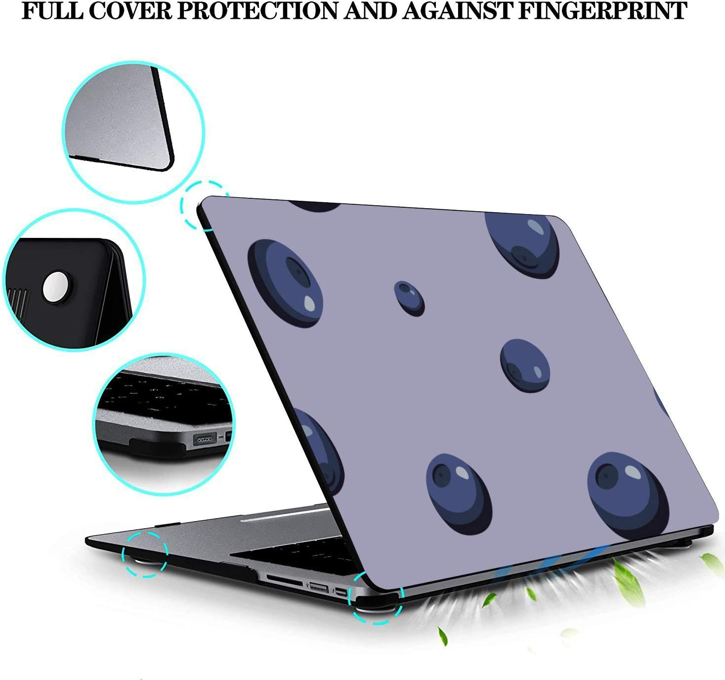 2018 MacBook Pro Case Summer Sweet Sour Fruit Blueberry Plastic Hard Shell Compatible Mac Air 11 Pro 13 15 MacBook Computer Case Protection for MacBook 2016-2019 Version