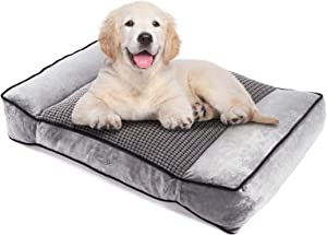 Pecute Large Dog Bed, Warm Plush & Cool Silk Double-Sided Pet Bed Four Seasons Available, Orthopedic Shredded Memory Foam Dog Beds, Washable Dog Lounge with Removable Cover