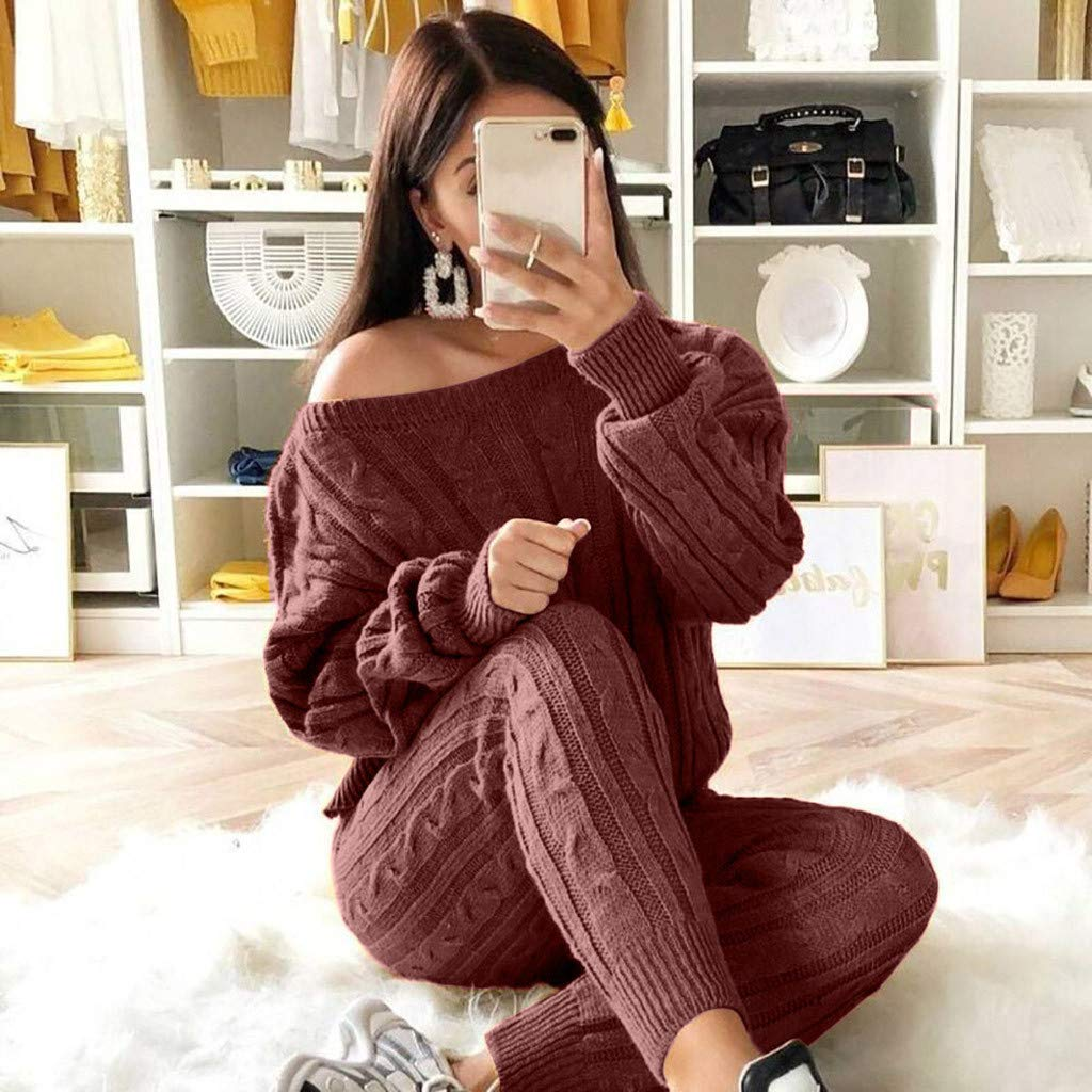 Save 10/% 2Pcs Women Sports Sweatshirt Pants Sets,Solid Off Shoulder Tracksuit Lounge Wear Suit Sets Long Sleeve Casual Cable Knitted Warm Sweater + Pants 2 Piece Outfit