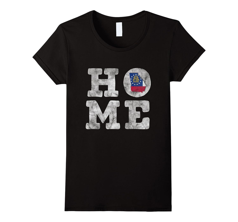 Georgia Home Distressed State Shape Flag T-Shirt