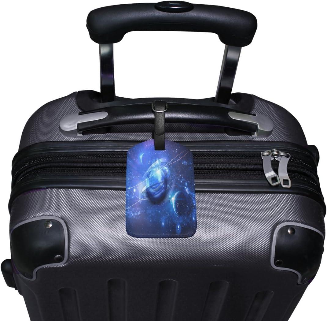 1Pcs Saobao Travel Luggage Tag Blue Planet PU Leather Baggage Suitcase Travel ID Bag Tag