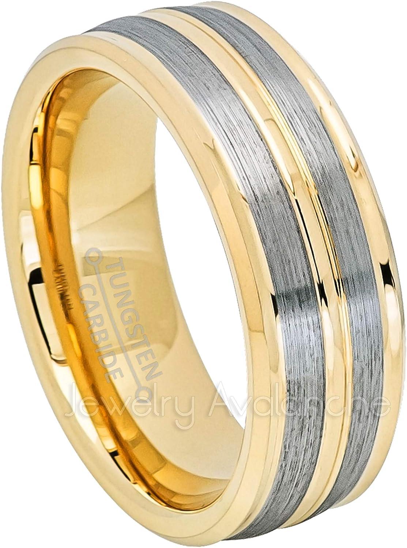 Comfort Fit Beveled Tungsten Anniversary Band TN611PL 2-Tone Tungsten Wedding Band Yellow Gold IP Tungsten Ring Inside Carbon Fiber Inlay