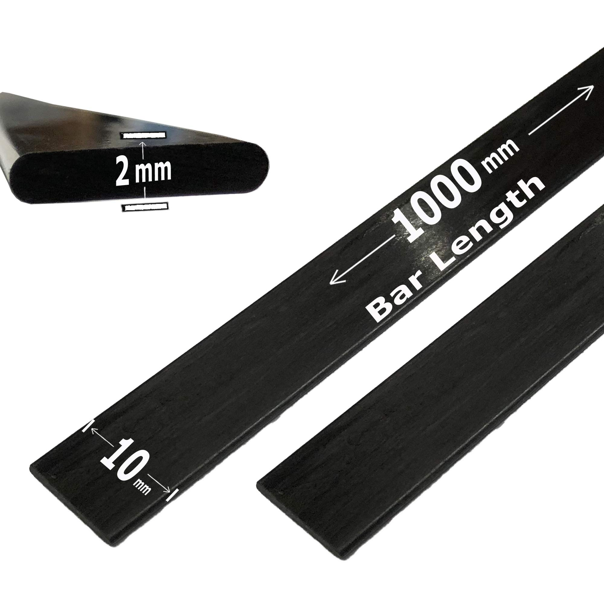 (2) 2mm x 10mm 1000mm - PULTRUDED-Flat Carbon Fiber Bar. 100% Pultruded high Strength Carbon Fiber. Used for Drones, Radio Controlled Vehicles. Projects requiring high Strength Components