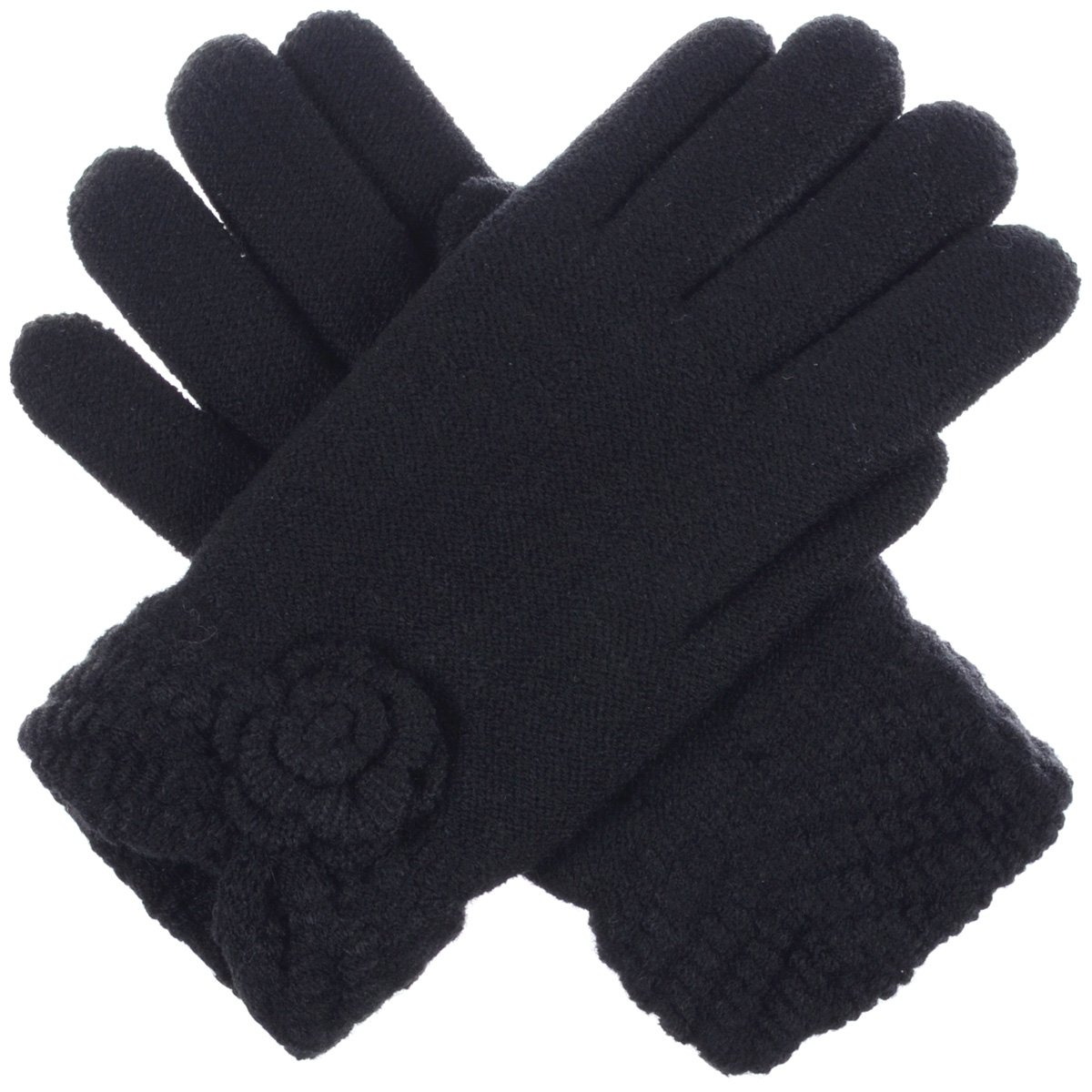 BYOS Womens Winter Ultra Warm Soft Plush Faux Fur Fleece Lined Knit Gloves W/Flower V Opening Cuff (Black)