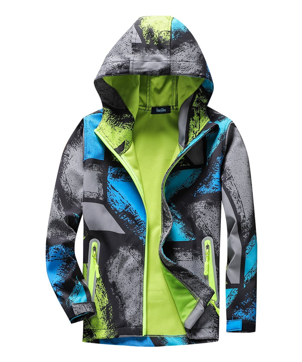 M2C Boys Hooded Color Block Waterproof Jacket with Composite Mesh Gray 6/7