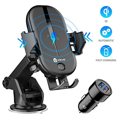 iClever Wireless Car Charger 10W/7.5W QI Fast Charging Car Mount with Automatic Clamp, Air Vent/Suction Phone Holder for Car for iPhone 11/11 Pro/11 Pro Max/Xs MAX/XS/XR/X/8/8+,Samsung S10/S9/S8: Home Audio & Theater