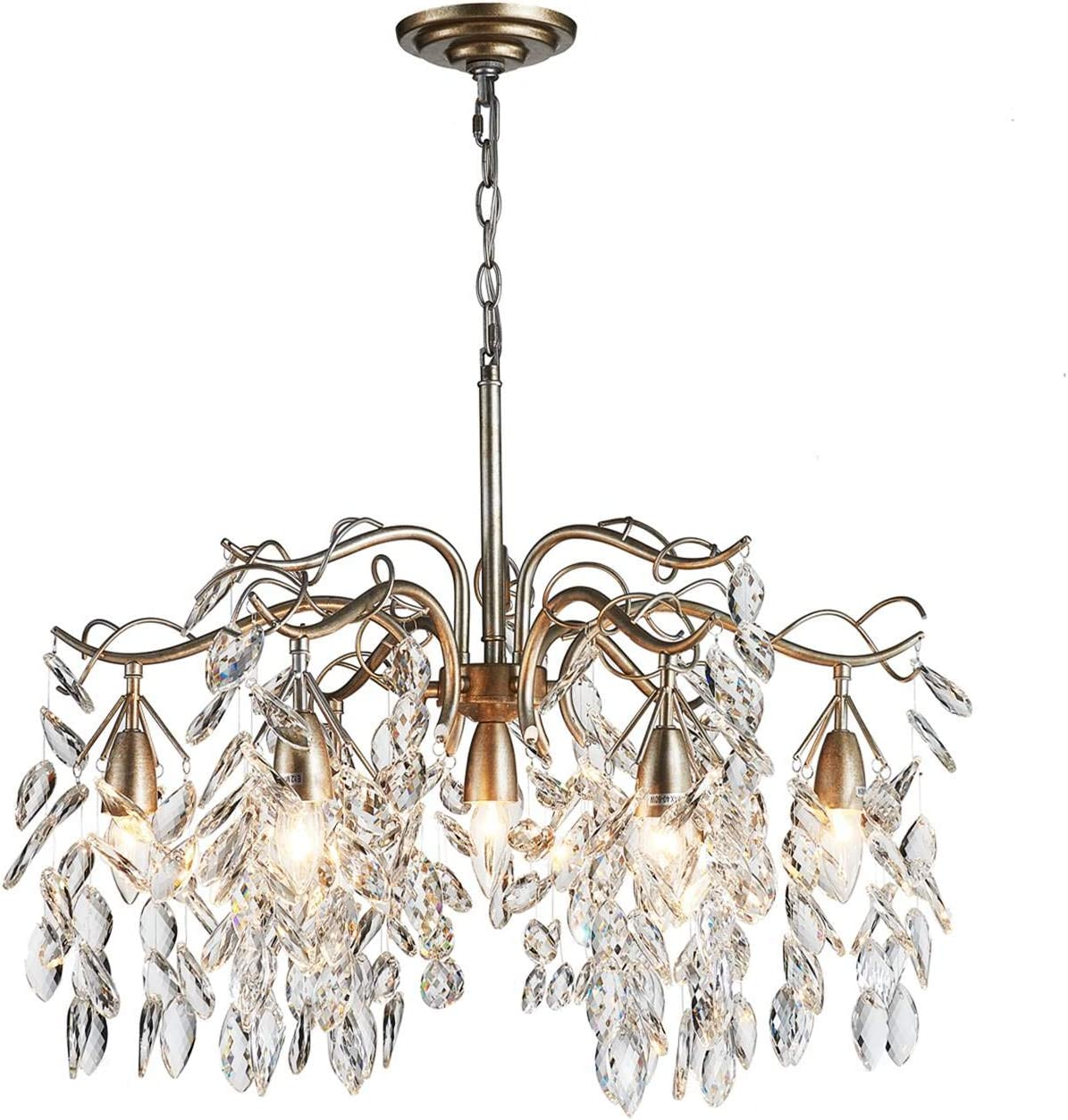 Saint Mossi Crystal Raindrop Chandelier Lighting Curve Crystal Cascading Chanelider 7 Lights, Vintage Aged Silver Painted Arms, Width 24 inch
