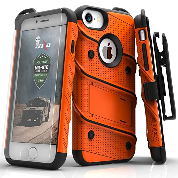 huge selection of b8497 2db27 Zizo iPhone 8 Case/iPhone 7 Case [Bolt Series] w/ [iPhone 8 Screen  Protector ] Kickstand [12 ft. Military Grade Drop Tested] Holster Belt Clip
