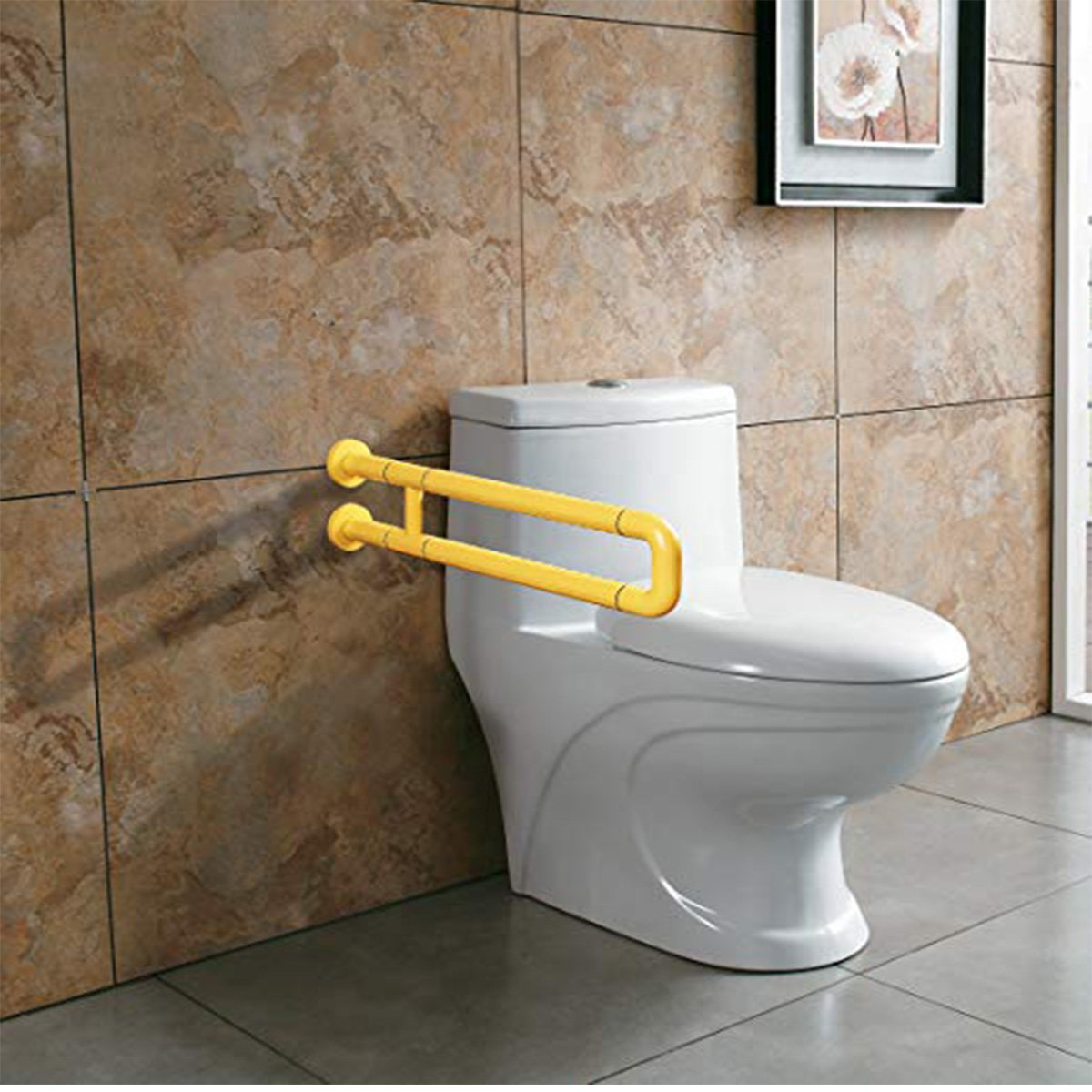 TiKing Grab Bars for Toilet,Toilet Grab Bars for Bathroom and Grab Bars for Toilets Ada Requirements - Safety Hand Rail Support - Handicap, Elderly, Injury,Bath Handle, Non Skid,ADA Compliant.(Yellow) by TiKing