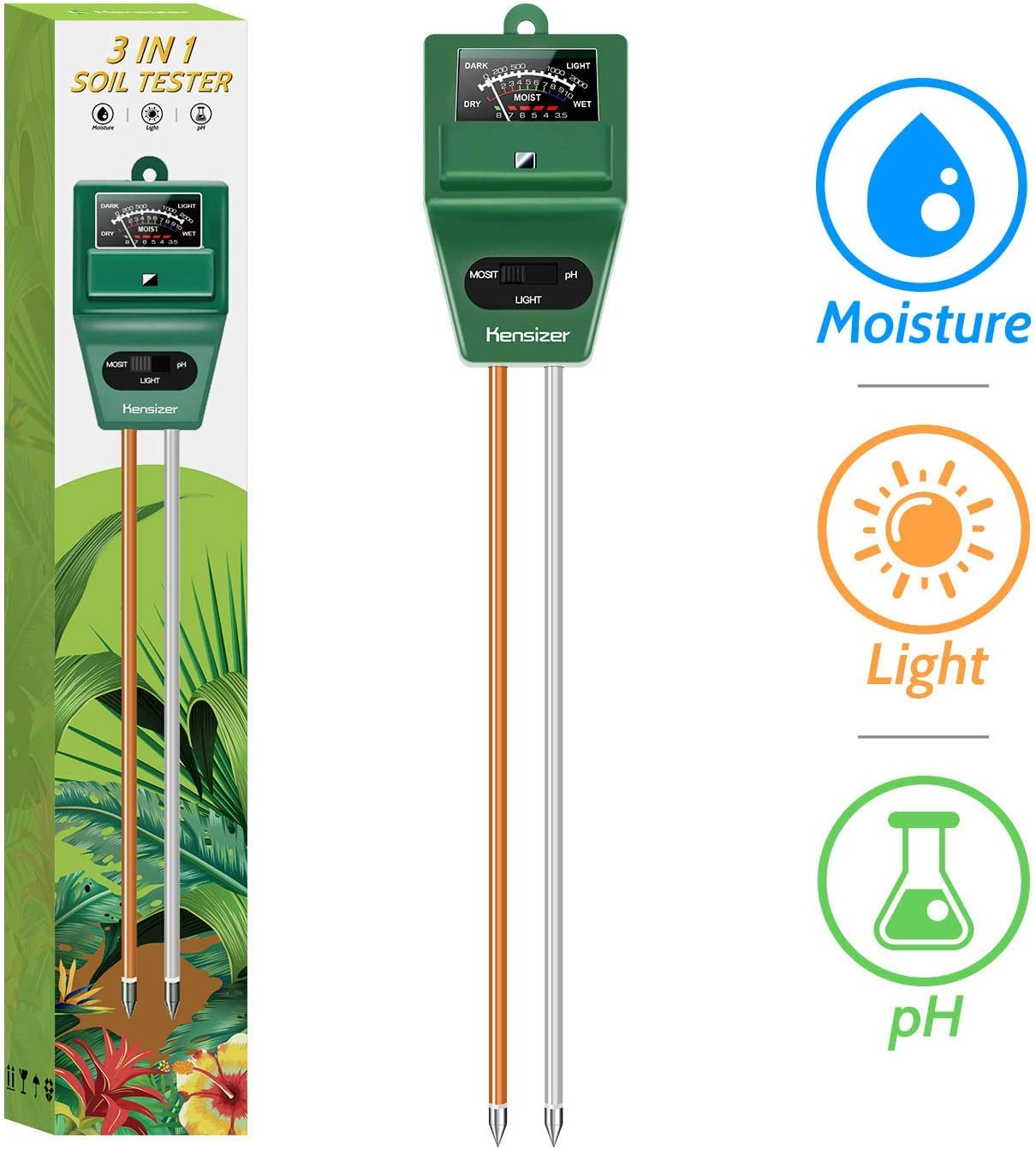 Kensizer Soil Tester, 3-in-1 Soil Moisture/Light/pH Meter, Gardening Tool kit for Plant Care, No Battery Required