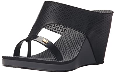 6ebd5f0612 Zaxy Women's Glamour Top II Wedge Sandal, Black, 8 M US: Buy Online ...