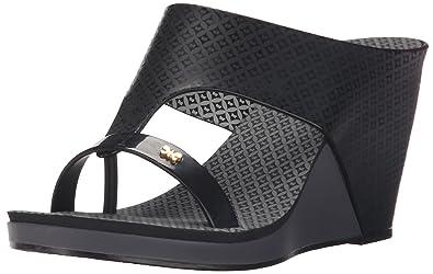 6ebd5f0612 Zaxy Women's Glamour Top II Wedge Sandal, Black, 8 M US: Buy Online ...