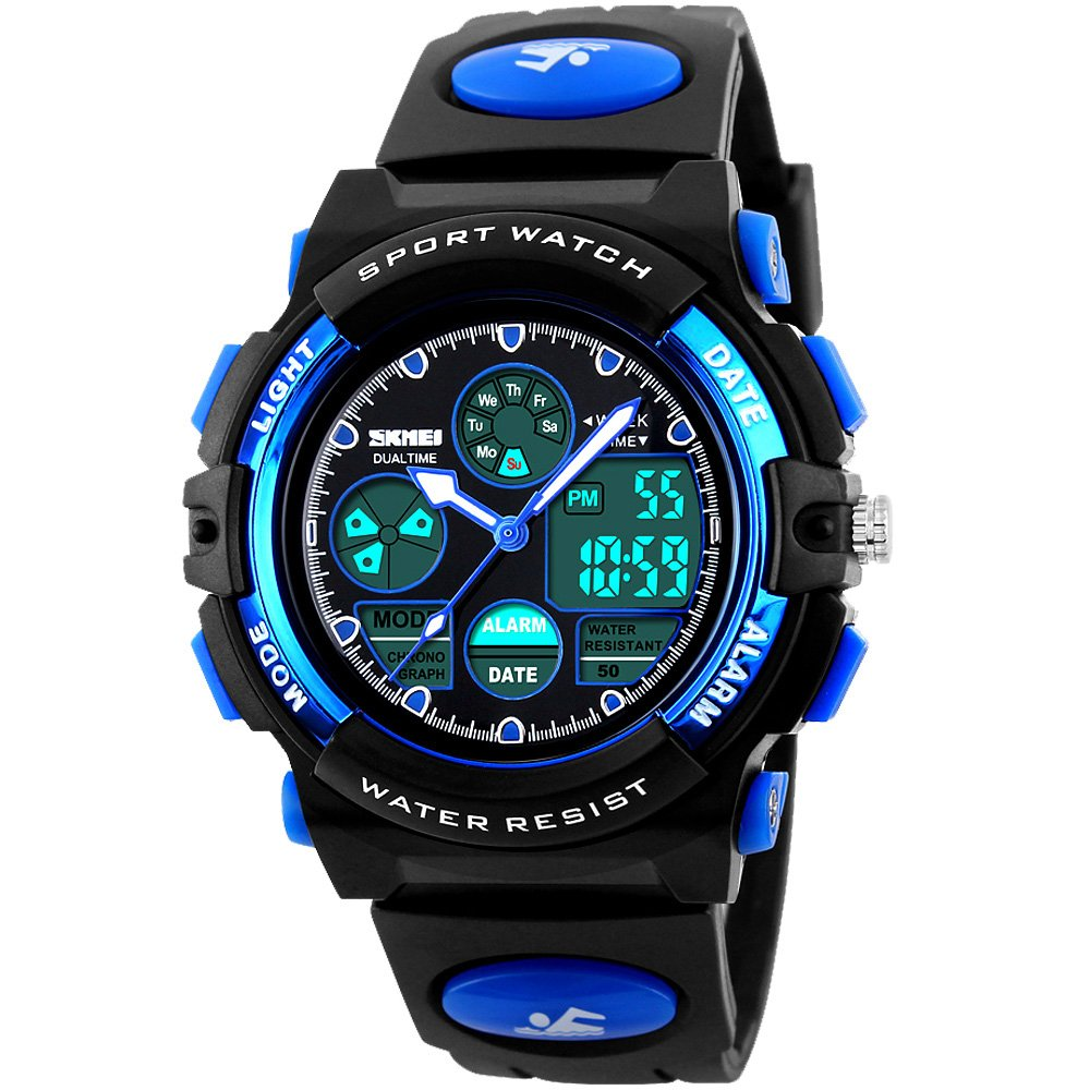 Tamlee 50m Waterproof Digital Analog Led Sport Watch for Kids with Rubber Strap Black Blue by Tamlee