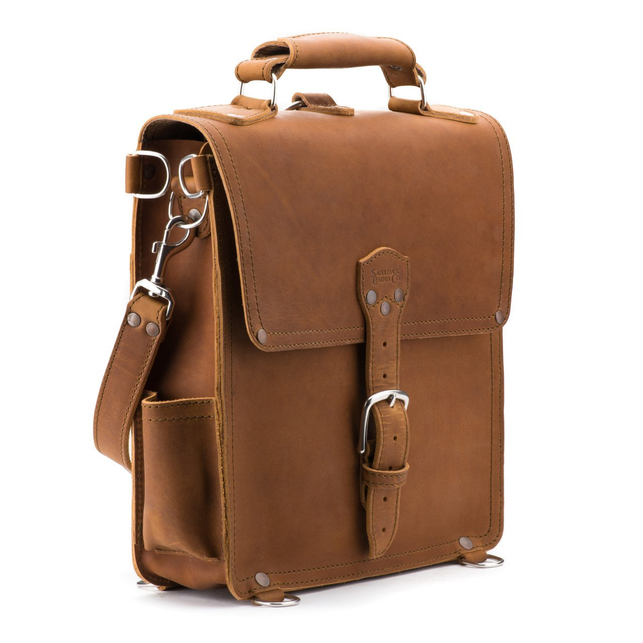 Saddleback Leather Messenger Bag - Leather Vertical Messenger - 100 Year Warranty