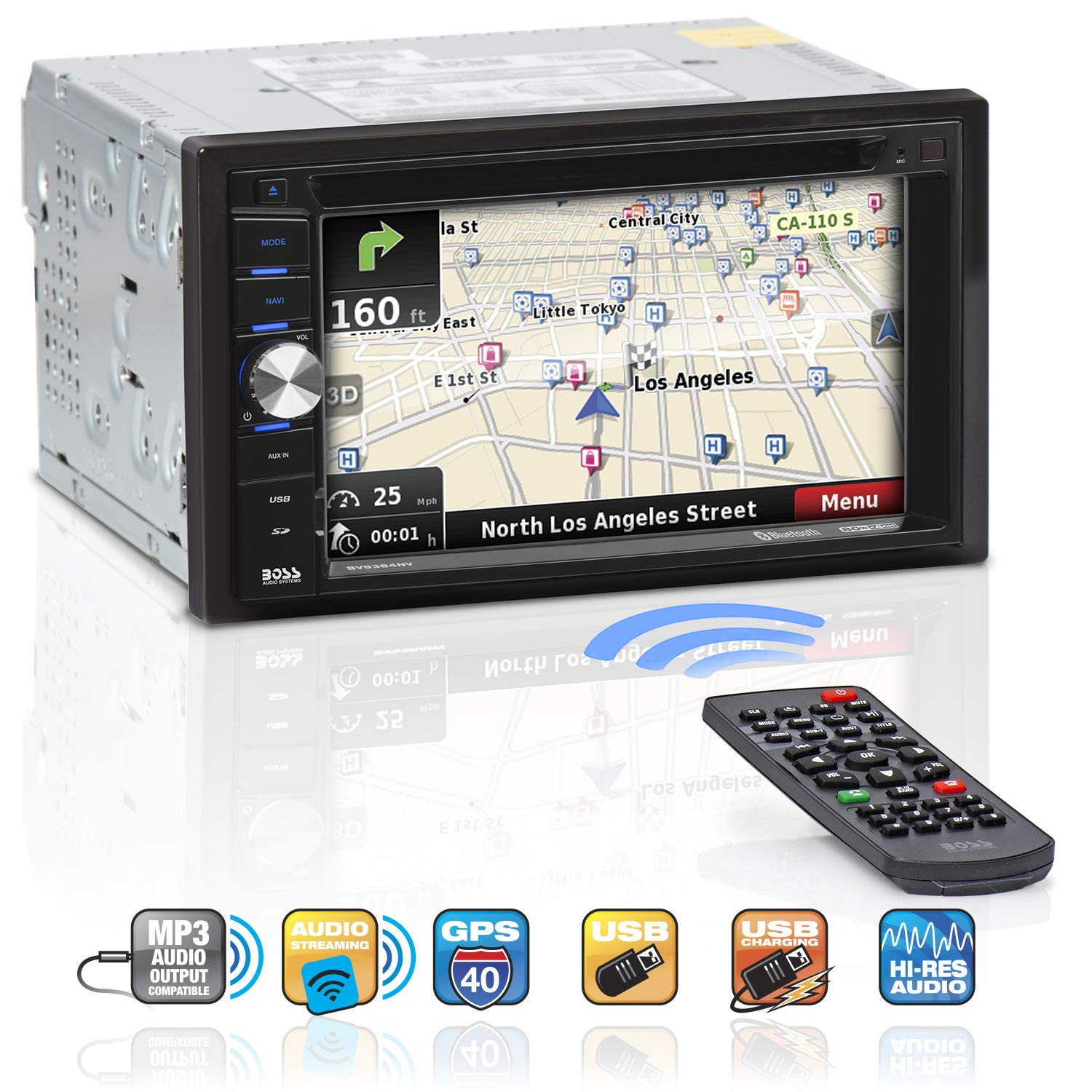 BOSS Audio BV9384NV Navigation - Double Din, Bluetooth Audio and Calling, 6.2 Inch LCD Touchscreen Monitor, Built-in Microphone, MP3 Player, CD / DVD Player, WMA, USB / SD Ports, AM/FM Radio Receiver