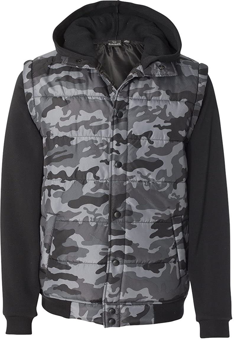 Burnside Mens Nylon Vest with Fleece Sleeves B8701