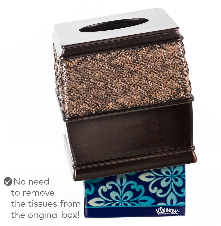 Decorative Bathroom Tissues Paper Holder Modern Napkins Container for Cute Elegant Bathroom Decor Brown 6 x 6 x 6.2 H Creative Scents Dublin Square Tissue Box Cover