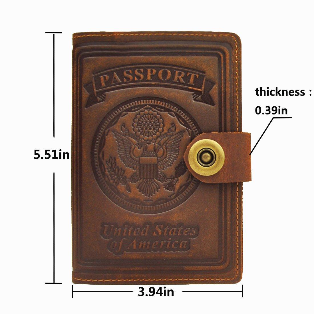 Yellow Brown Passport Wallet Schumarson Genuine Leather RFID Blocking US Passport Holder Cover ID Card Wallet