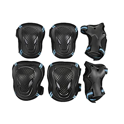 Fakeface Kid's Adults Sports Protective Gear Skating Roller Blading Wrist Knee and Elbow Pads Set Reflective Blades Guard BMX Bike Skateboar Safety Equipment - 6 Pieces : Sports & Outdoors