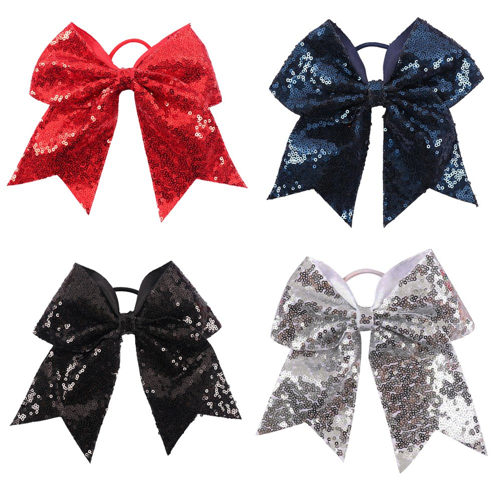 CN 4pcs 7 Inches Large Sequined Cheer Hair bow, Handmade Ponytail Holder Elastic Band Cheerleader Bows for Teen Girls College Sports Hair Accessories