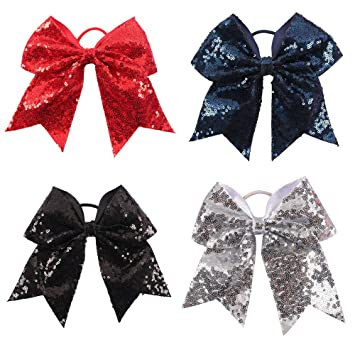 PERSONALISED Black Silver Glitter Infinity Cheer Bow Hair Accessory Cheerleading