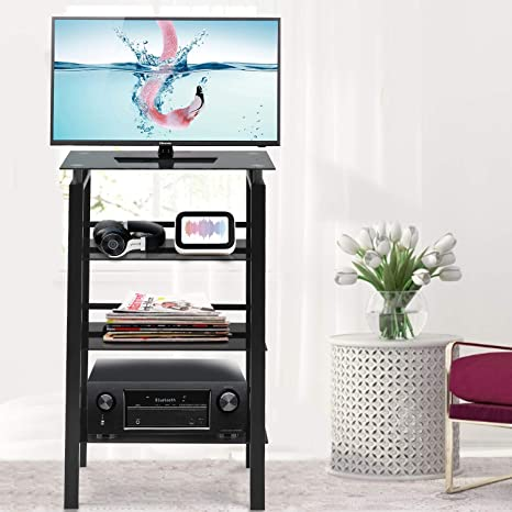 Invie 4 Tier Media Stand Audio Video Component Cabinet With Glass Shelf Open Shelving Bookcase