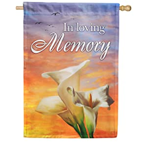 America Forever House Flag - In Loving Memory (Lilies), Cemetery Memorial Religious Bereavement Double Sided 28