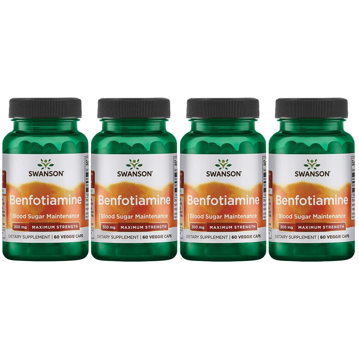 Swanson Benfotiamine - Maximum Strength 300 mg 60 Veg Caps 4 Pack by Swanson