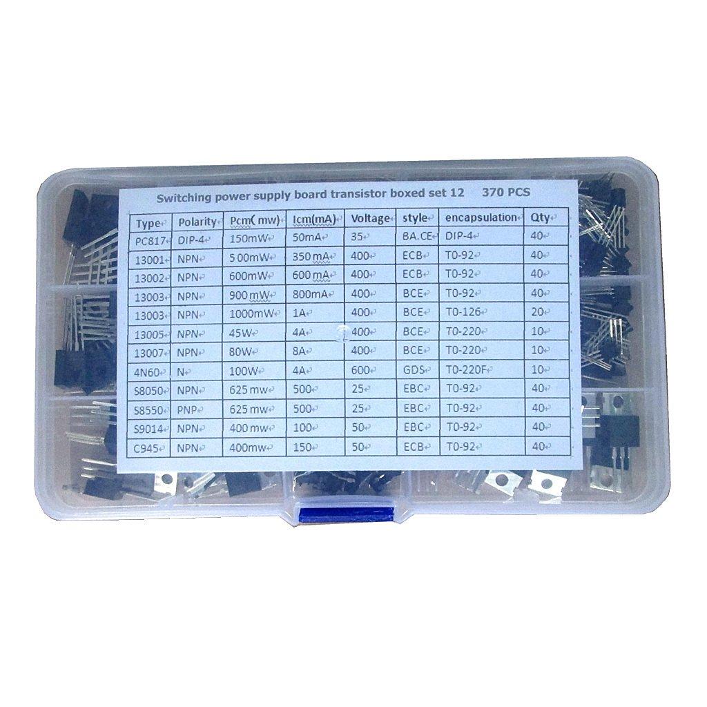 H HILABEE Transistor De Potencia De 370 Piezas Transistor De Efecto De Campo Para Cargador De Adaptador