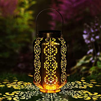 LOOHAOC Farol Solar para Exteriores - Luces de Linterna Solar Luz Colgante Lámpara de Metal de Luces de Jardín Lámpara Hexagonal, Decoración de Jardín, Porche IP44 - Dorado: Amazon.es: Iluminación