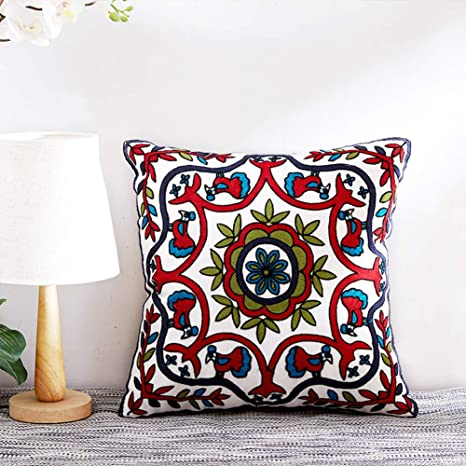 Amazon Com 20 X20 Throw Pillows Embroidered Embroidered Pillow Cover With Floral Bohemian Decorative Throw Pillows For Couch Sofa Bed Bedroom Home Kitchen