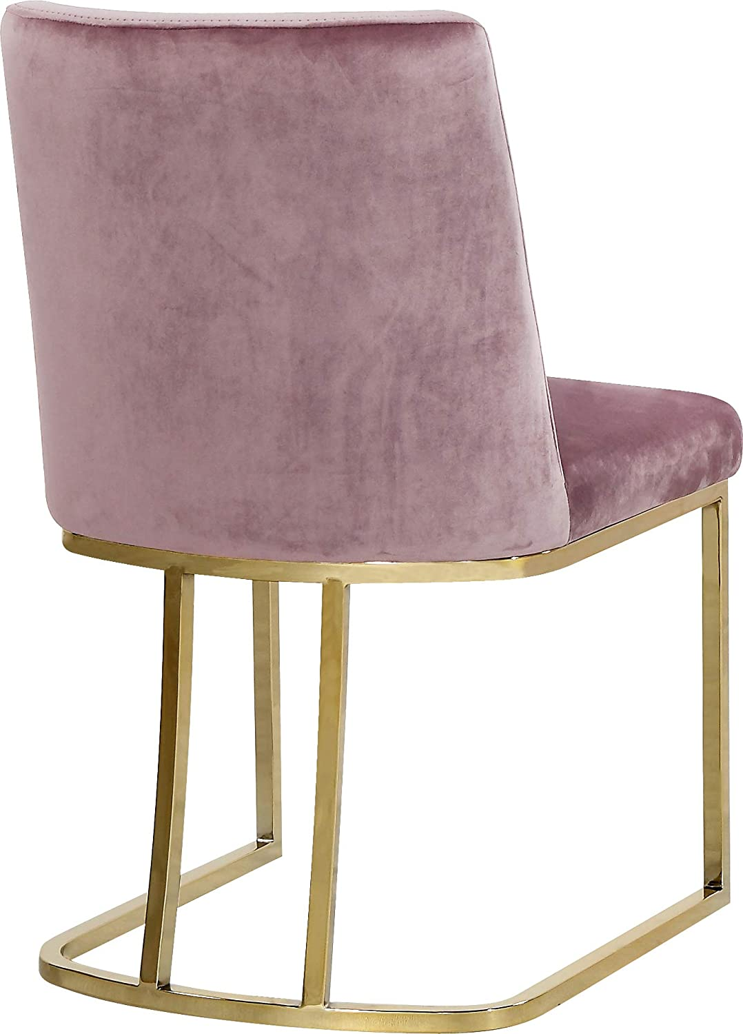 Meridian Furniture Heidi Collection Pink Modern Contemporary Velvet Upholstered Dining Chair with Polished Gold Metal Frame, Set of 2, 19 W x 23 D x 32 H,