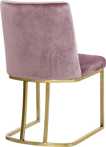 Meridian Furniture Heidi Collection Pink Modern Contemporary Velvet Upholstered Dining Chair