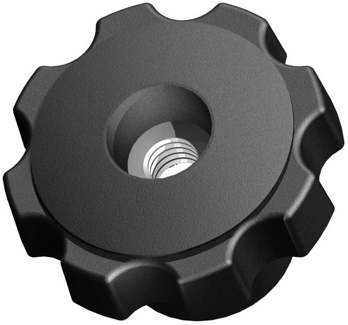 Innovative Components AN8C-F7S21 2.48'' Fluted knob thru hole 1/2 - 13 steel zinc insert soft touch (Pack of 10)