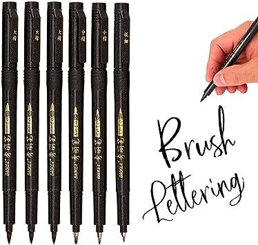 Rotuladores recargables para escritura a mano color negro Miuse dise/ño 4 tama/ños para principiantes firma ilustraci/ón