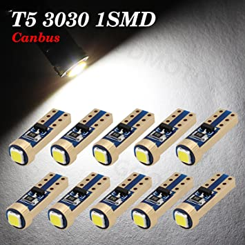 10xT5-3030-1-W-JM Boodled 10x Super Bright 3030 SMD T5 Canbus Error Free White Instrument Speedo Gauge Cluster 37 73 74 79 17 57 LED Lights bulb