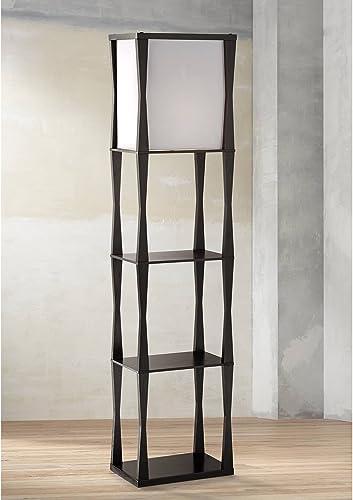 Haiku Modern Asian Japanese Style Etagere Floor Lamp Standing Column Ebony Wooden Frame Drop