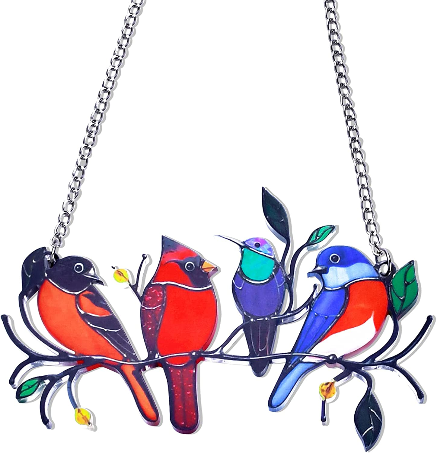 Multicolor Birds on a Wire Stained Glass Birds Window Hangings,Bird Suncatcher for Windows Decoration Pendant for Home Farmhouse Wall Decor,Windows Panel Ornament Decorations,Gifts for Bird Lovers