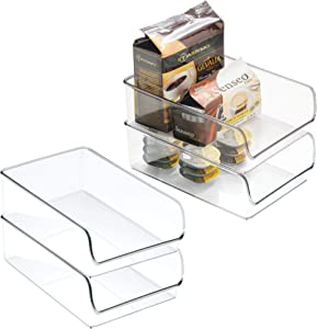 "iDesign Linus Plastic Fridge and Freezer Storage Organizer Bin, Clear Container for Food, Drinks, Produce Organization, BPA-Free , 11"" x 7"" x 3.5"", Set of 4 - Clear"
