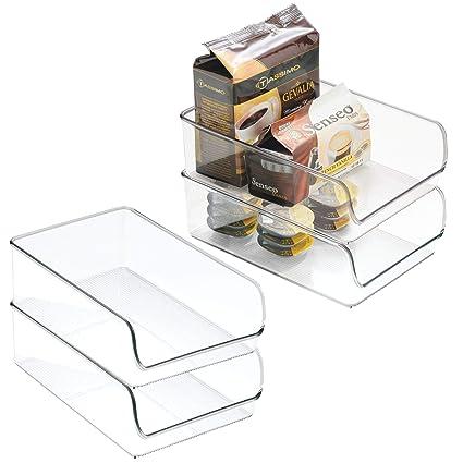 InterDesign Linus Organizador para la cocina, caja organizadora de plástico antirrotura grande, juego de