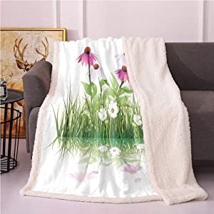 SeptSonne Floral Sherpa Blankets,Arrangement of Botanical Garden Flowers and Grass with Their Reflection Lightweight Fluffy Flannel,Fluffy Throw Blankets(50x60,Pink Green and White)