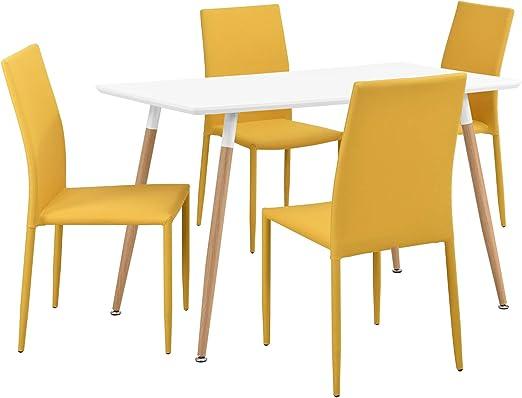en.casa]®] Set de Comedor Elegante: Mesa Blanca Mate (120x70cm ...