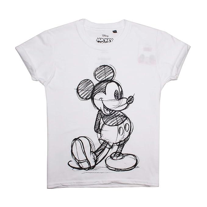 DISNEY Mickey Mouse Ragazze Bambini Top Manica Lunga T-Shirt-Mickey Sketch-Bianco