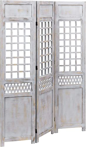 MyGift Decorative 3-Panel Vintage Gray Wood Folding Room Divider, Freestanding Trellis Style Screen