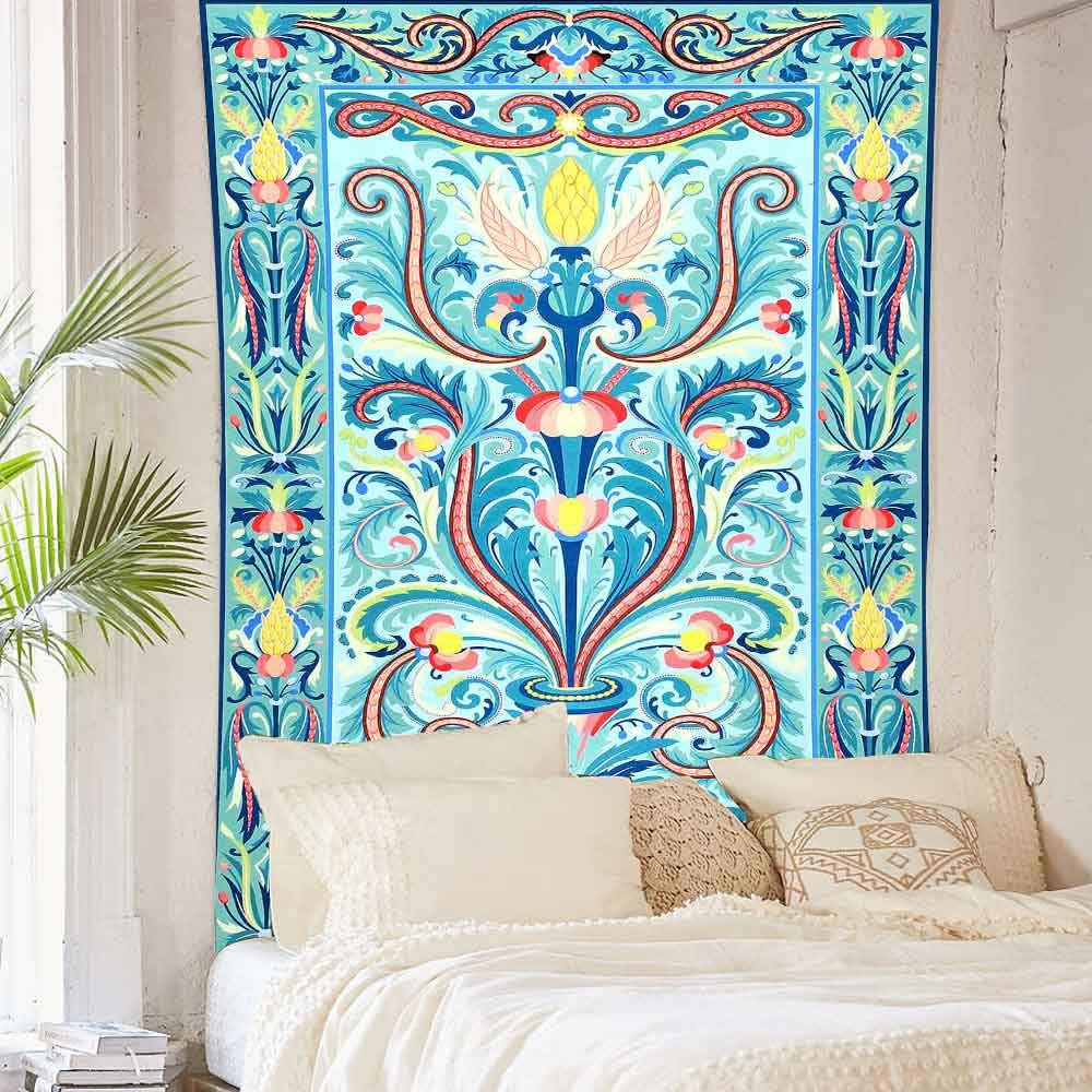 Simsant Blue Tapestry Bohemian Mandala Wall Hanging Classic Color Sacred Tree Wall Blanket India Colorful Wall Decor 101.6x152.4CM Blue,40x60inches SIGE005