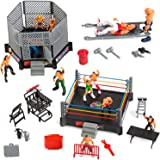 ToyVelt 32-Piece Wrestling Toys for Kids - Wrestler Warriors Toys with Ring & Realistic Accessories - Fun Miniature…
